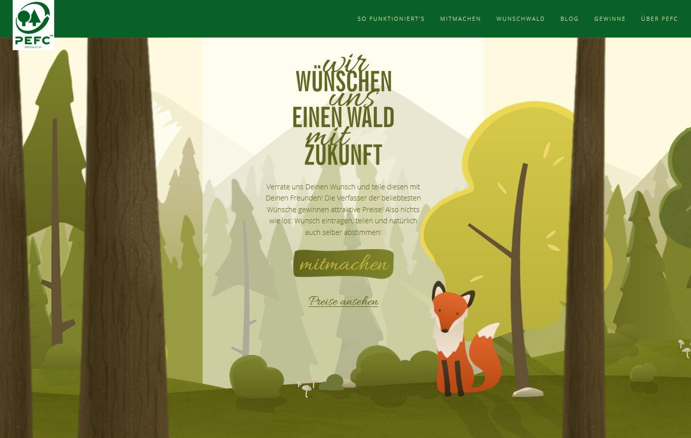Screenshot von www.wunschwald.com